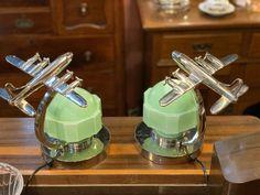 Pair of Aeronautique Lamps with Original Deco - Jade Green Glass Shades Ceiling Light Fixtures, Ceiling Lights, Glass Cube, Ship Art, Art Deco Design, Jade Green, Glass Shades, Lamps, Chrome