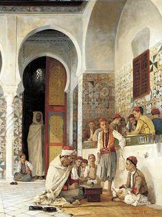 """""""A Lesson In TheKoran"""". Numa Marzocchi de Bellucci (1846 – 1930, French)."""