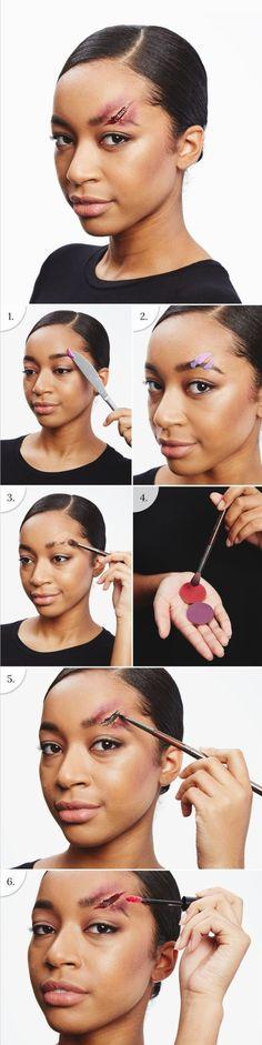 un tuto effet spécial pour un maquillage facile halloween, comment faire une fausse blessure avec du latex liquide
