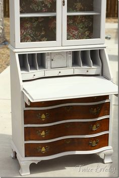 9c141f86364e Secretary make-over in French Gray. Vintage wallpaper in cabinet. Drawers  stained dark