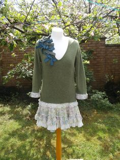 Upcycled Sweater Dress 'Olive Grove' UK size by StrangelyMagical