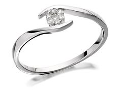 F.HINDS - Diamonds - Diamond Rings - Engagement Rings - 9ct White Gold Diamond Twist Cluster Ring 8pts EXCLUSIVE - 047207