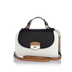 White contrast panel structured satchel bag £40.00
