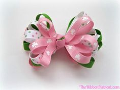 Colorful Loopy Ribbon Bow - 30 Fabulous and Easy to Make DIY Hair Bows