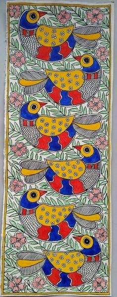 Items similar to Les Six - Handmade Madhubani Painting on Etsy Madhubani Paintings Peacock, Kalamkari Painting, Madhubani Art, Indian Art Paintings, Oil Paintings, Worli Painting, Fabric Painting, Bottle Painting, Art Installation