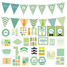 Very Large Little Man Chevron Boy Mustache Birthday Party Pack Set  Package  - Digital Printable - customized