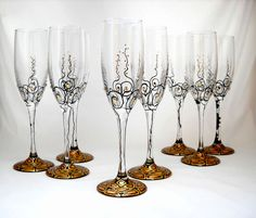 Toasting Flutes Hand Painted Champagne Glasses by SkySpiritStudios