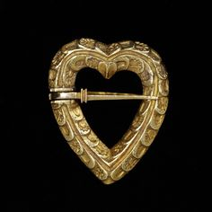 Medieval Gold Heart-shaped Brooch with sword clasp, maker unknown,ca. 1400.