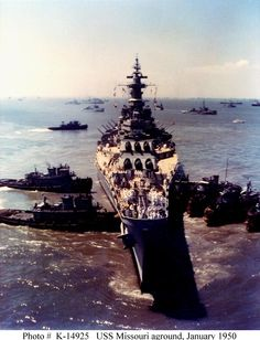 USS Missouri run aground off the coast of Virginia, January 1950. Only took two weeks to refloat. The Russians had a field day with this one, not to mention our own Army and Air Force. Moral of the story: listen to the harbor pilot.