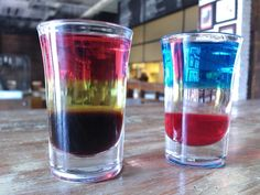 germany and netherland shooter :) kahlua ,banana liquer ,vodka with grenadine .. grenadine ,t-sec ,vodka with blue curacau.