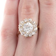 New Bond Street is an incredible Victorian era yellow gold cluster ring centering a EGL certified Old European Cut diamond. Hexagon Engagement Ring, Engagement Rings, Diamond Cluster Ring, Diamond Earrings, Bond Street, Sparkle, Victorian, Jewelry, Enagement Rings