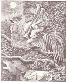 Maurice Sendak: Hans My Hedgehog.  A bizarre Grimms story about a half-man, half-hedgehog who rides a rooster and is not particularly kind to women who don't want to marry hedgehogs.