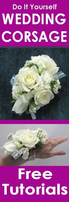 How to Make a Corsage with floral adhesive.  Free tutorials for corsages, boutonnieres, centerpieces, bridal bouquets and church decor.