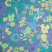 Liberty of London Scilly Flora Blue/Green Silk-Cotton Voile
