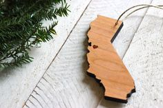 City and State or Country Rustic Modern Custom Christmas Ornament via Etsy