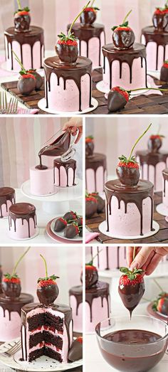 Chocolate-Covered Strawberry Cakes | Click Pic for 20 Easy Valentine Desserts for Two | Easy Romantic Dessert Recipes for Valentines