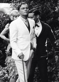 calmest-chaos:  Leonardo DiCaprio, Carey Mulligan and Tobey Maguire. Great Gatsby