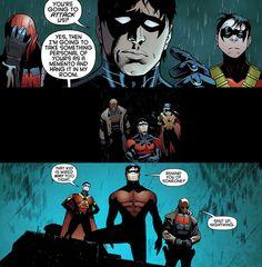 Nightwing, Red Hood, Red Robin, and Robin - Batman & Robin #9