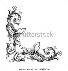 Vintage baroque corner scroll ornament engraving corner floral retro pattern antique style acanthus foliage swirl decorative design element filigree calligraphy. Element of Design.