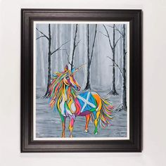 She Who is Brave - Framed Limited Edition Floating Prints Unicorn Painting, Unicorn Art, Magical Unicorn, Scottish Unicorn, Scotlands National Animal, Steven Brown Art, Three Dimensional, Fine Art Paper, Illusions