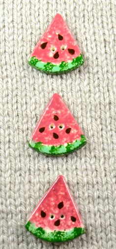 Handpainted ceramic watermelon slice buttons x by DebraRutherford, $15.00