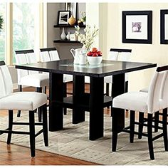 Furniture of America Jalen Counter Height LED Dining Table in Black
