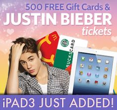 WIN an iPad3, Bieber Tickets