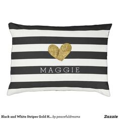 Personalized dog beds. Modern black and white stripes with a gold heart. This designer dog bed is easy to personalize with the name of your pet.