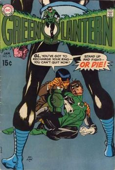 A super-cool GREEN LANTERN cover by Gil Kane, quite possibly sketched by Carmine Infantino. This was only two issues before the seismic change to Neal Adams and the relevancy of the GREEN LANTERN/GREEN ARROW series, and this piece is dynamic and. Dc Comic Books, Vintage Comic Books, Comic Book Artists, Vintage Comics, Comic Book Covers, Comic Art, Green Lantern Green Arrow, Green Lantern Comics, Green Lantern Hal Jordan