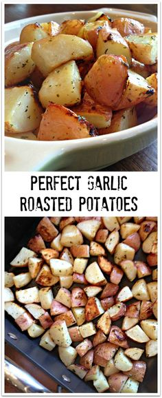 PERFECT GARLIC ROASTED POTATOES - Awesome tried and true recipe that is so EASY to make!! | SweetLittleBluebird.com