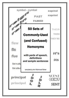 50 Sets of Homonyms - With definitions, sentences and part
