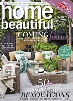 Home Beautiful July 2019 Beautiful Cover, Milan Design, Australian Homes, Outdoor Furniture Sets, Outdoor Decor, Bars For Home, Own Home, Home Kitchens, Cosy