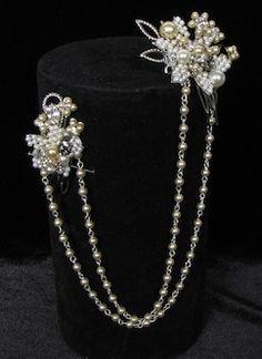 Paris Bridal Hair Jewelry, School For Scandal Hair Ornament that can be worn in infinite ways: headband, back piece, bun wrap. Wedding Hair Accessories, Jewelry Accessories, Jewelry Ideas, Bridal Earrings, Wedding Jewelry, Diy Tiara, Bridal Hair Ornaments, Hair Necklace, Hair Jewels