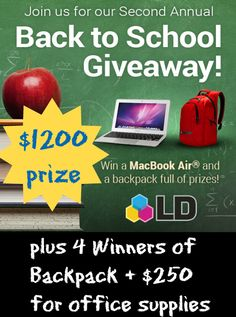 WIN a MacBook Air® & backpack filled with prizes ($1,200 value)  ENTER ‪#‎GIVEAWAY‬ http://freebies4mom.com/winldproducts ‪#‎ad‬ I don't want you to miss @ldproducts  Back To School Giveaway