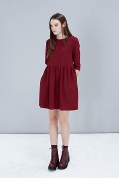 オックスブルードポリエステルミニワンピース Smock Dress with Tie Waist Oxblood | レディース - ワンピース・オールインワン - ミニワンピース|海外通販ならLASO(ラソ)