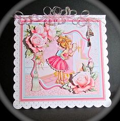 PRETTY IN PINK 8x8 Mini Kit Decoupage on Craftsuprint designed by Janet Briggs - made by Cynthia Massey