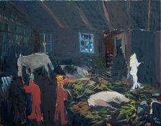 "Saatchi Art Artist ofir dor; Painting, ""Barn at Night"" #art"