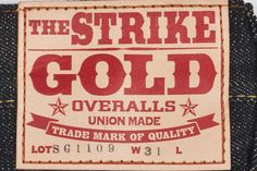Strike Gold SG1109 Jean - Slim Tapered 14.5oz Unsanforized Japanese Selvedge Denim (Gold Sparkle ID) Hidden Rivets Button Fly Deerskin Leather Tag Iron Male Rivet - Copper Female Rivet Slim Tapered Fit