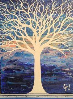 White Tree Blue White Canvas Art Abstract Tree Painting Original Tree Painting Modern Home Decor Pretty White Tree Nature Art Wall Art