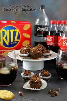 Sweet & Salty Coca-Cola Cupcakes with a RITZ Crust