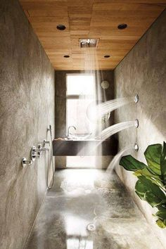 The perfect shower, bamboo outside