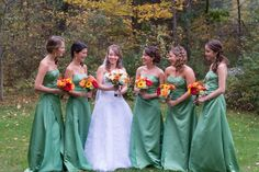 Fall wedding. October Wedding. Green Bridesmaid dresses. New Hampshire. #fallwedding #octoberwedding #wedding #bridalparty #greenbridalparty #bridesmaiddresses #bridesmaids