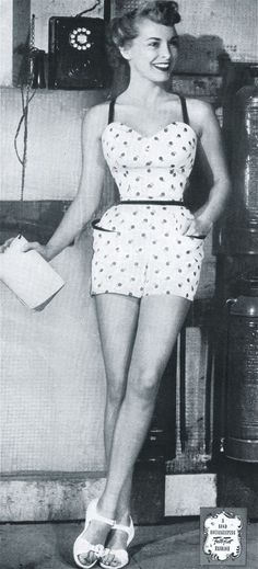 Janet Leigh from Scaramouche, models Mrs. Schnurner's one-piece bathing suit.