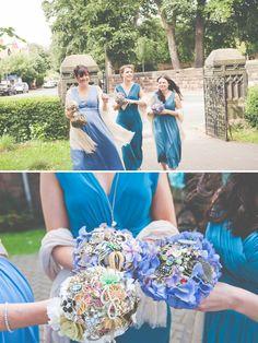 blue bridesmaid dresses brooch bouquet http://lisahowardphotography.co.uk/