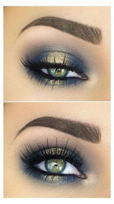 Gold Eye Makeup, Gold Eyeshadow, Natural Eye Makeup, Blue Eye Makeup, Eye Makeup Tips, Smokey Eye Makeup, Makeup Eyeshadow, Makeup Ideas, Makeup Hacks