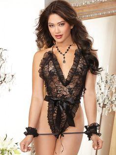 c8f36dbe4da22 Dreamgirl Stringbody, schwarz Body String, Lace Ruffle, Ruffle Trim, Lingerie  Dress,