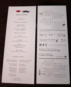Your relationship as an infographic: DIY programs and invitations