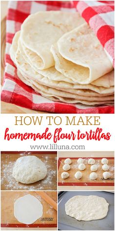 Homemade Flour Tortillas made from 5 Ingredients - butter warm water flour baking powder and salt! They're so soft easy to make and can be used for burritos tacos quesadillas however you like! Recipes With Flour Tortillas, Homemade Flour Tortillas, Flour Tortilla Recipe Butter, Flour Recipes, Bread Recipes, Burritos, How To Make Flour, Food To Make, How To Make Tortillas