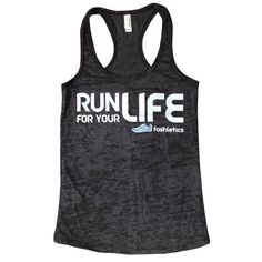 RUN FOR YOUR LIFE Tank (black burnout) by Fashletics | Fashletics