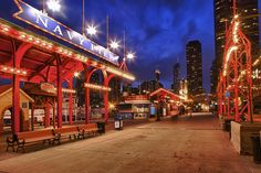 Navy Pier: Navy Pier is great. Especially in the summer. Shoot the carousels, swings, and walkways. Take a ride on the Ferris Wheel. Walk up to the top level of the parking deck for an awesome view back at the city.